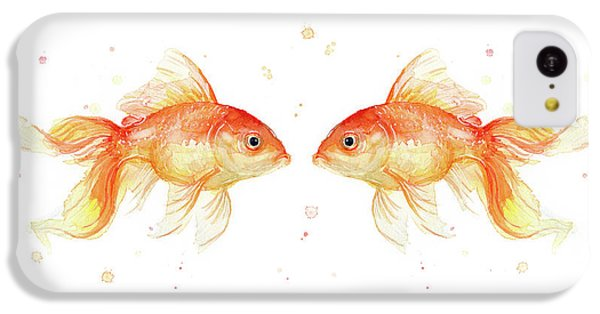 Goldfish Love Watercolor IPhone 5c Case by Olga Shvartsur