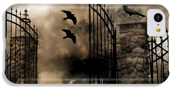 Gothic Surreal Fantasy Ravens Gated Fence  IPhone 5c Case by Kathy Fornal