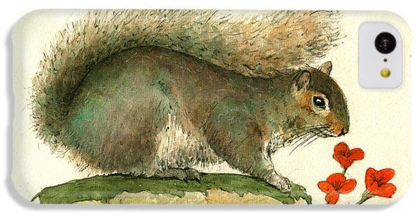Gray Squirrel Flowers IPhone 5c Case by Juan Bosco