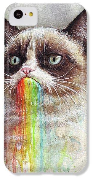 Cat iPhone 5c Case - Grumpy Cat Tastes The Rainbow by Olga Shvartsur