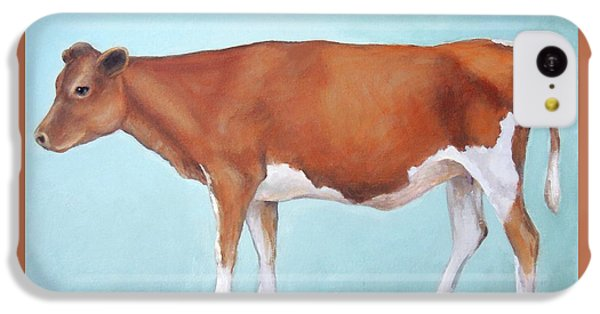 Cow iPhone 5c Case - Guernsey Cow Standing Light Teal Background by Dottie Dracos
