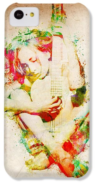 Guitar iPhone 5c Case - Guitar Lovers Embrace by Nikki Smith