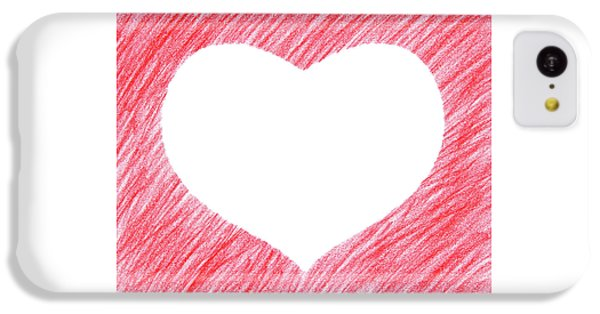 Design iPhone 5c Case - Hand-drawn Red Heart Shape by GoodMood Art