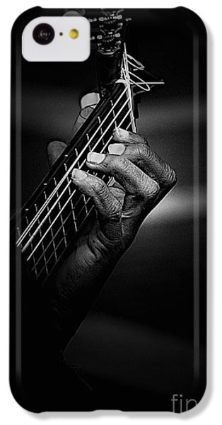 Guitar iPhone 5c Case - Hand Of A Guitarist In Monochrome by Sheila Smart Fine Art Photography