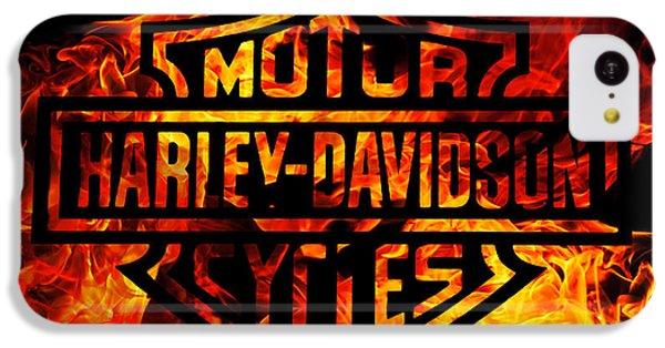 Motorcycle iPhone 5c Case - Harley Davidson Logo Flames by Randy Steele