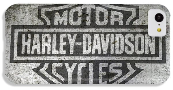 Motorcycle iPhone 5c Case - Harley Davidson Logo On Metal by Randy Steele