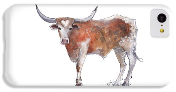 Cow iPhone 5c Case - Heart Of Texas Longhorn by Kathleen McElwaine