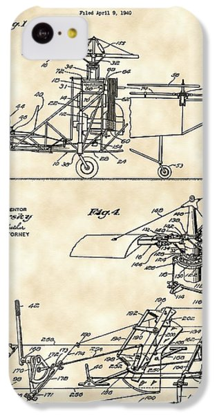 Helicopter iPhone 5c Case - Helicopter Patent 1940 - Vintage by Stephen Younts