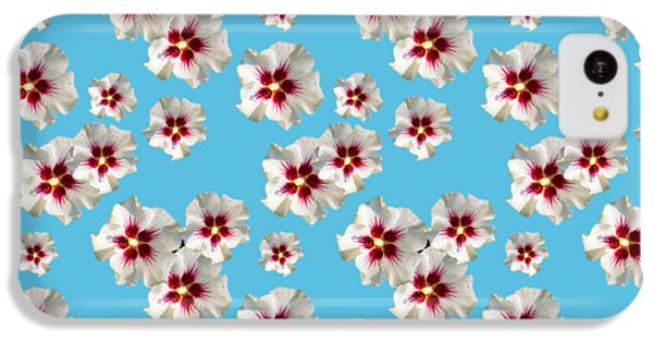 IPhone 5c Case featuring the mixed media Hibiscus Flower Pattern by Christina Rollo