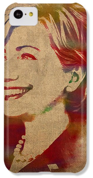 Hillary Rodham Clinton Watercolor Portrait IPhone 5c Case by Design Turnpike