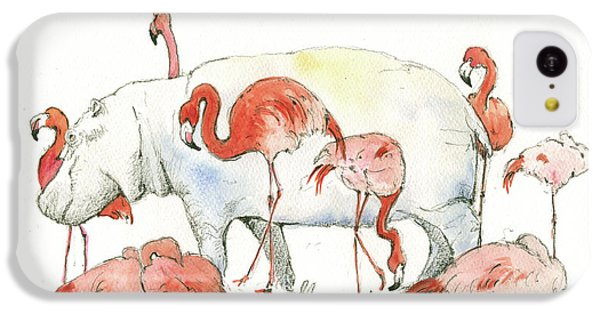 Hippopotamus iPhone 5c Case - Hippo And Flamingos by Juan Bosco