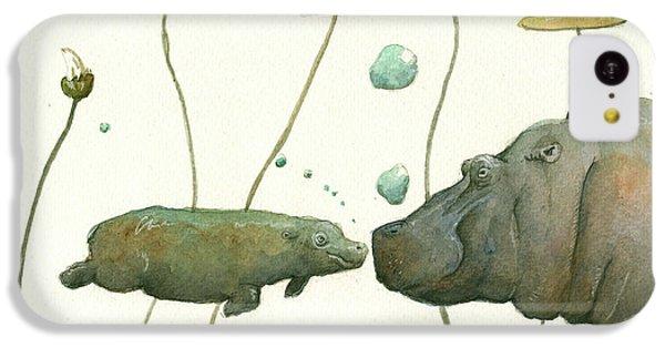 Hippopotamus iPhone 5c Case - Hippo Mom With Babyv by Juan Bosco