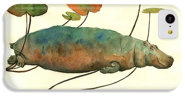 Hippopotamus iPhone 5c Case - Hippo Swimming With Water Lilies by Juan  Bosco