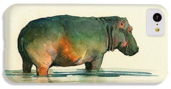 Hippopotamus iPhone 5c Case - Hippo Watercolor Painting by Juan  Bosco
