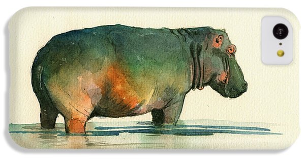 Hippo Watercolor Painting IPhone 5c Case by Juan  Bosco