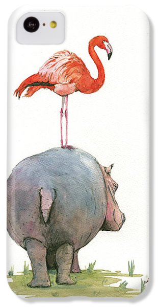 Hippopotamus iPhone 5c Case - Hippo With Flamingo by Juan Bosco