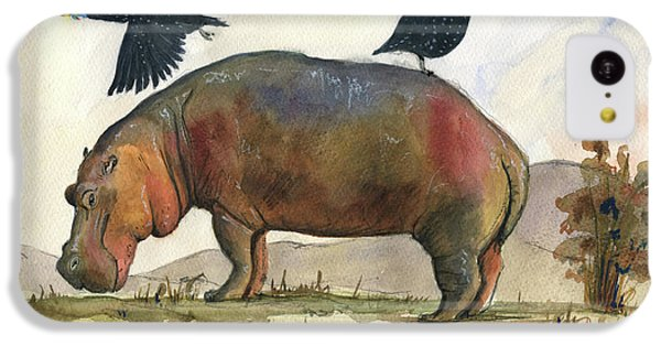 Hippopotamus iPhone 5c Case - Hippo With Guineafowls by Juan Bosco
