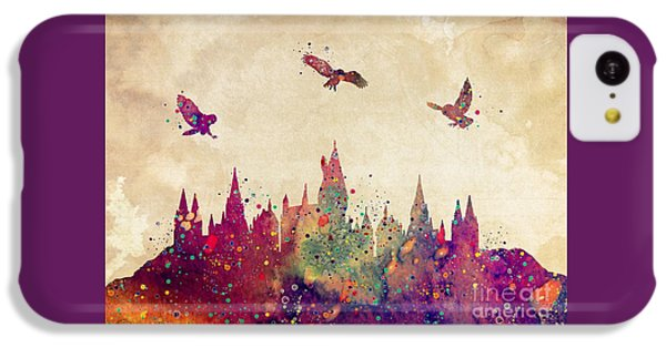 Castle iPhone 5c Case - Hogwarts Castle Watercolor Art Print by Svetla Tancheva