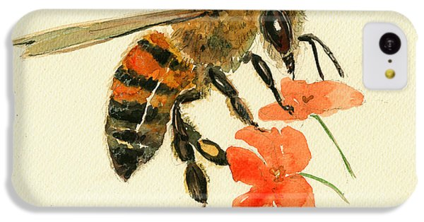 Honey Bee Watercolor Painting IPhone 5c Case