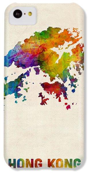Hong Kong Watercolor Map IPhone 5c Case by Michael Tompsett