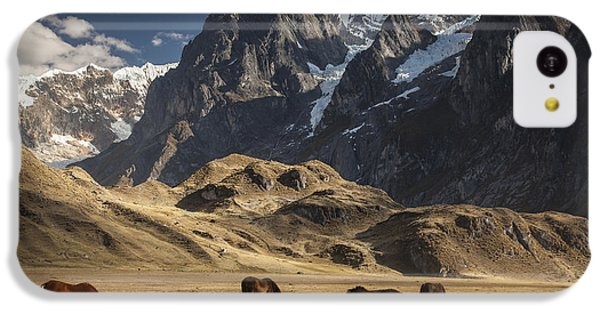Mountain iPhone 5c Case - Horses Grazing Under Siula Grande by Colin Monteath