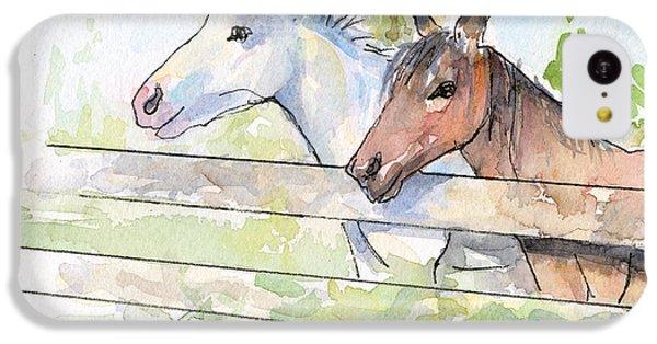 Horse iPhone 5c Case - Horses Watercolor Sketch by Olga Shvartsur