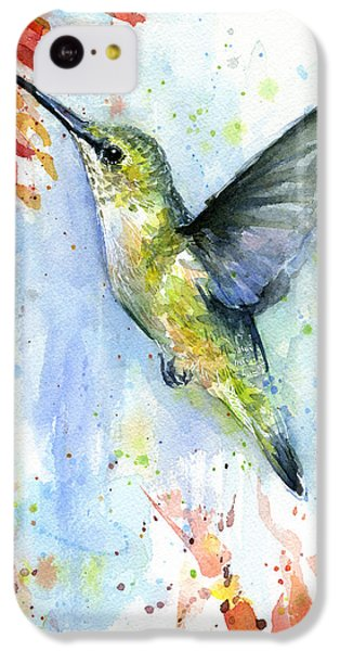 Hummingbird And Red Flower Watercolor IPhone 5c Case by Olga Shvartsur