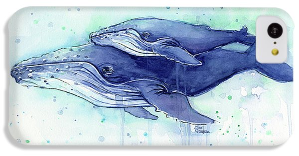 Humpback Whale Mom And Baby Watercolor IPhone 5c Case by Olga Shvartsur
