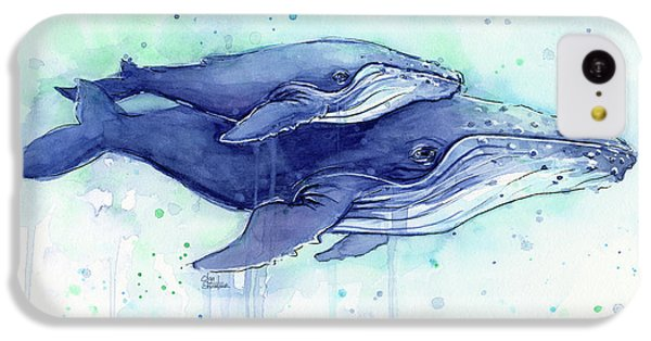 Humpback Whales Mom And Baby Watercolor Painting - Facing Right IPhone 5c Case