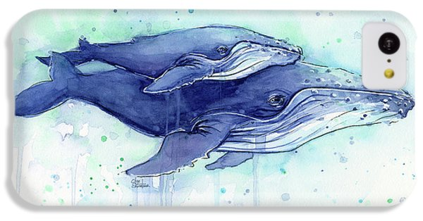 Humpback Whales Mom And Baby Watercolor Painting - Facing Right IPhone 5c Case by Olga Shvartsur