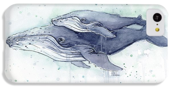 Humpback Whales Painting Watercolor - Grayish Version IPhone 5c Case by Olga Shvartsur