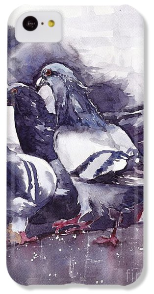Pigeon iPhone 5c Case - Hungry Pigeons Watercolor by Suzann's Art