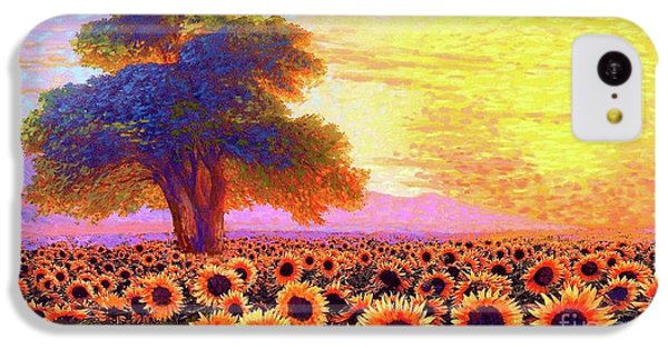Sunflower iPhone 5c Case - In Awe Of Sunflowers, Sunset Fields by Jane Small