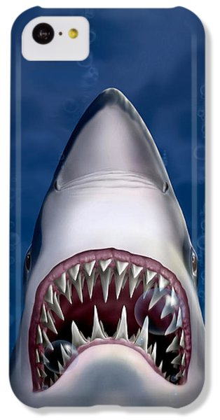 iPhone - Galaxy Case - Jaws Great White Shark Art IPhone 5c Case by Walt Curlee