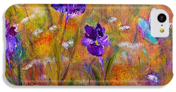 IPhone 5c Case featuring the painting Iris Wildflowers And Butterfly by Claire Bull