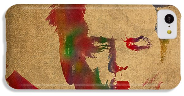 Jack Nicholson Smoking A Cigar Blowing Smoke Ring Watercolor Portrait On Old Canvas IPhone 5c Case