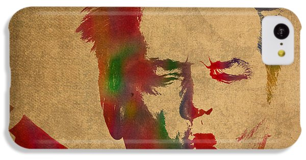 Jack Nicholson Smoking A Cigar Blowing Smoke Ring Watercolor Portrait On Old Canvas IPhone 5c Case by Design Turnpike