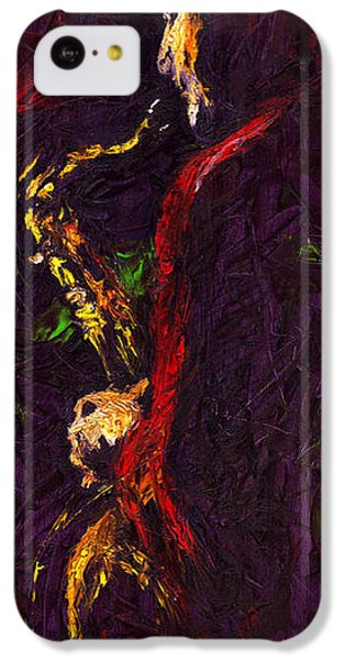 Jazz iPhone 5c Case - Jazz Red Saxophonist by Yuriy Shevchuk