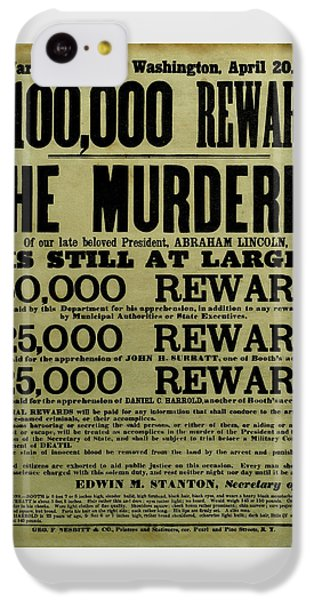 John Wilkes Booth Wanted Poster IPhone 5c Case by War Is Hell Store