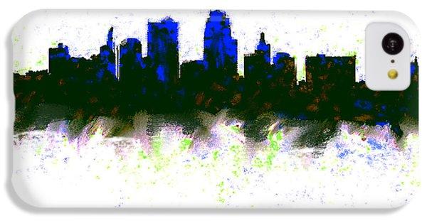 Kansas City Skyline Blue  IPhone 5c Case by Enki Art