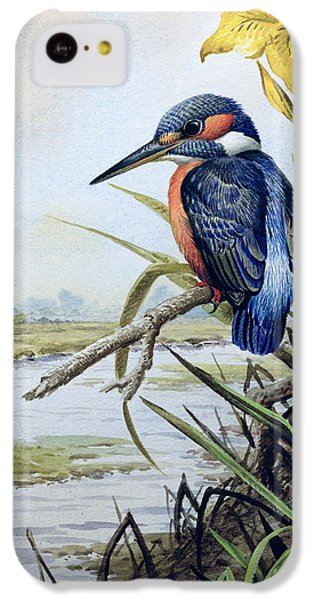 Kingfisher With Flag Iris And Windmill IPhone 5c Case by Carl Donner