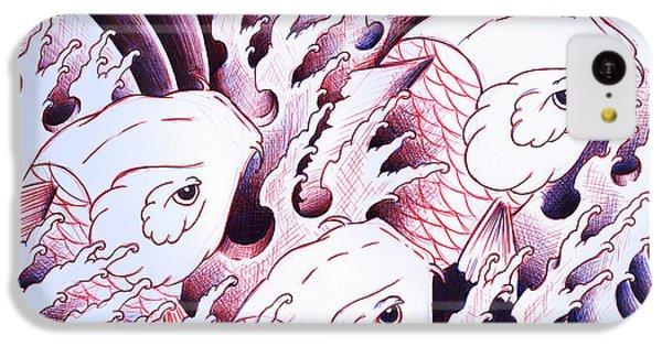 Koi iPhone 5c Case - Koi Carps In Water Tattoo Art by Samuel Whitton