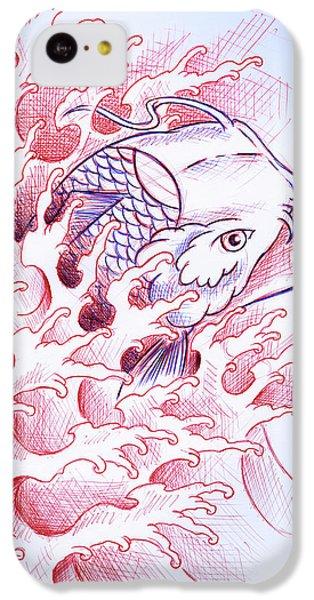 Koi iPhone 5c Case - Koi Tattoo Sketch by Samuel Whitton