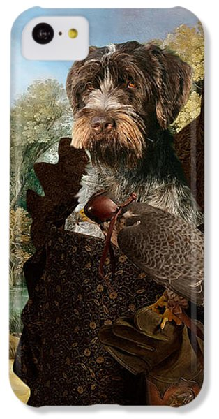 Korthals Pointing Griffon Art Canvas Print - The Hunters And Lady Falconer IPhone 5c Case