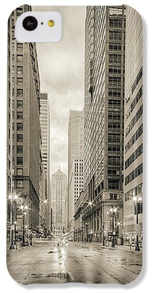 Lasalle Street Canyon With Chicago Board Of Trade Building At The South Side - Chicago Illinois IPhone 5c Case by Silvio Ligutti