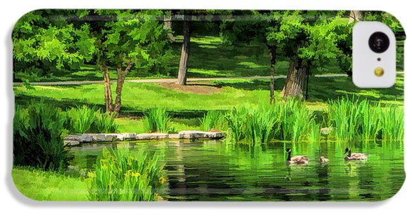 IPhone 5c Case featuring the painting Lake Ellyn Geese by Christopher Arndt