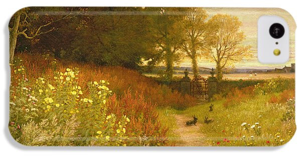 Rural Scenes iPhone 5c Case - Landscape With Wild Flowers And Rabbits by Robert Collinson