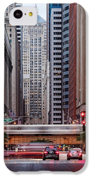 Lasalle Street Canyon With Chicago Board Of Trade Building At The South Side II - Chicago Illinois IPhone 5c Case by Silvio Ligutti