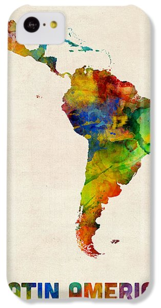 South America iPhone 5c Case - Latin America Watercolor Map by Michael Tompsett