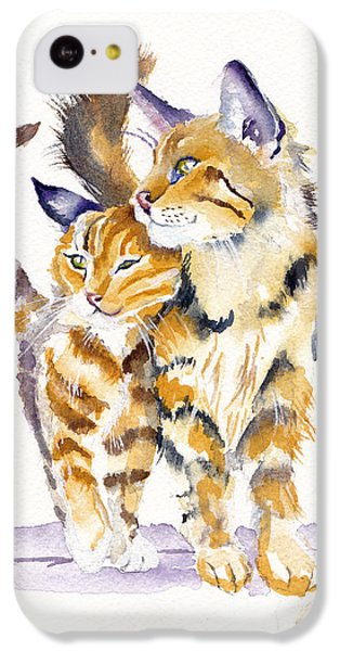 Cat iPhone 5c Case - Lean On Me by Debra Hall